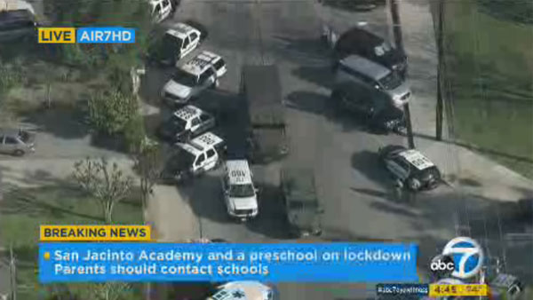 Four schools are on lockdown in San Jacinto after a man barricaded himself in a home.