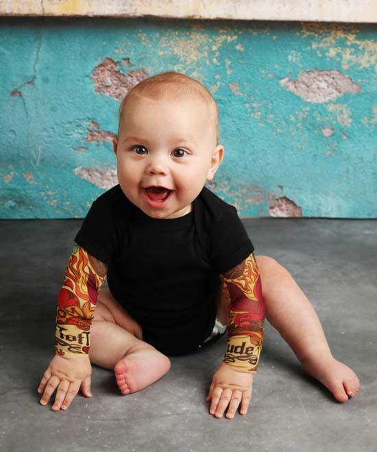 "<div class=""meta image-caption""><div class=""origin-logo origin-image none""><span>none</span></div><span class=""caption-text"">A mother of four has created a line of tattoo sleeves for babies and toddlers. (TotTude)</span></div>"