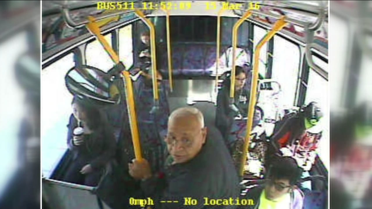 San Mateo police have released security video showing a man accused of groping a teenager on a SamTrans bus in San Mateo March 15, 2016.