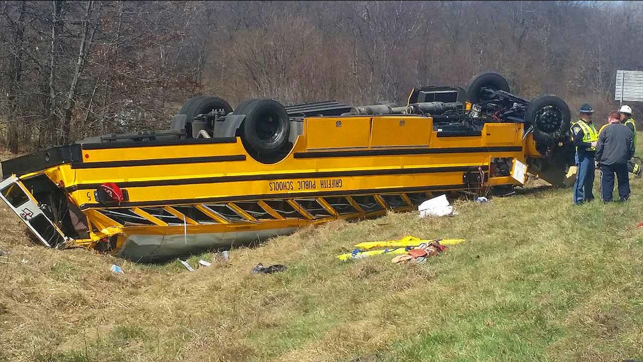 School bus carrying Griffith, IND basketball team overturns