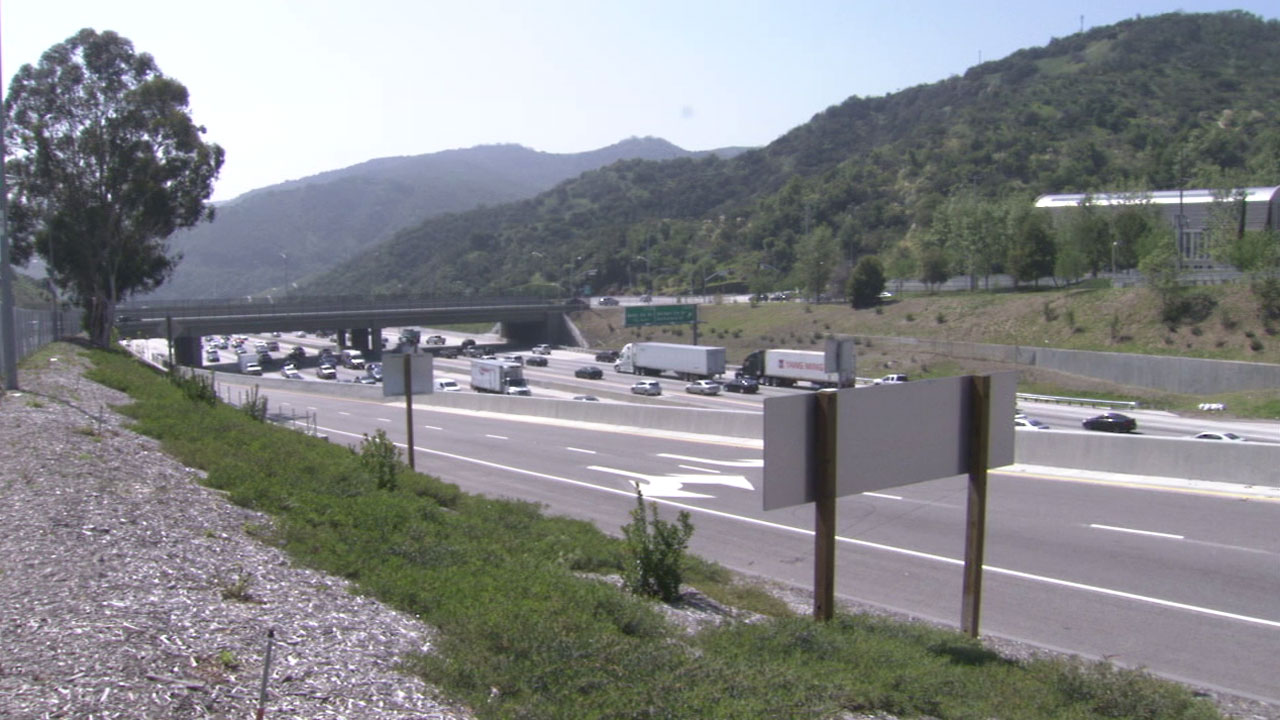 Cars pass through the Sepulveda Pass in an undated file photo.