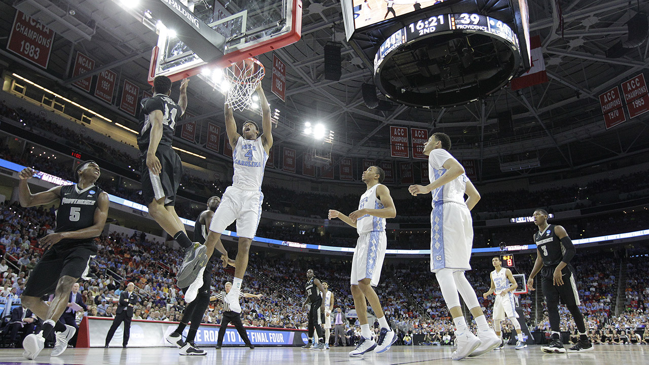 North Carolina forward Isaiah Hicks (4) shoots against Providence during the second half of a second-round men's college basketball game in the NCAA Tournament