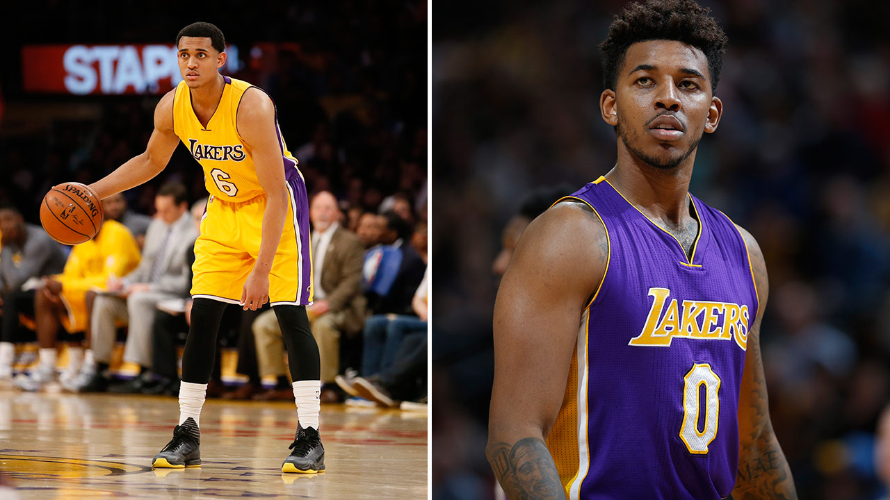 Jordan Clarkson (left) and Nick Young (right) are accused of sexually harassing two women in Hollywood, according to ESPN.