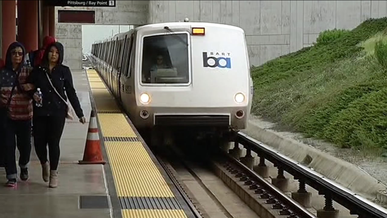A BART train is seen on a platform in this undated image.