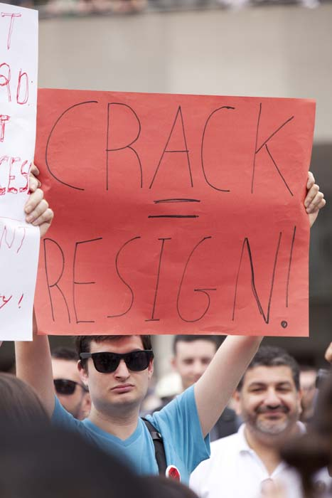 "<div class=""meta image-caption""><div class=""origin-logo origin-image ktrk""><span>KTRK</span></div><span class=""caption-text"">Protesters called for Mayor Rob Ford to resign due to a video scandal (Shutterstock/igor kisselev)</span></div>"