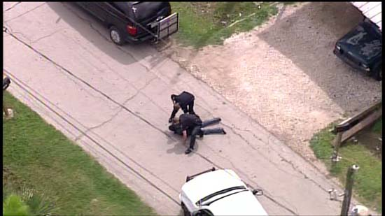 <div class='meta'><div class='origin-logo' data-origin='KTRK'></div><span class='caption-text' data-credit='KTRK'>Aerial images captured by SkyEye HD show the dramatic crash and foot chase that ended a police pursuit in northeast Harris County.</span></div>