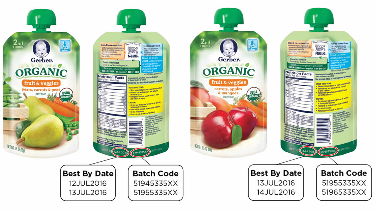 These undated images shows pouches of Gerber organic baby food that's being recalled because of a possible packaging defect.