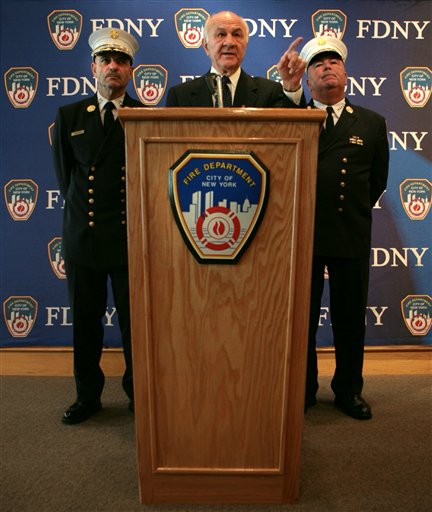 """<div class=""""meta image-caption""""><div class=""""origin-logo origin-image ap""""><span>AP</span></div><span class=""""caption-text"""">Fire Commissioner Nicholas Scoppetta, center, is flanked by fire department Chief of Department Salvatore Cassano, left, and Chief of Operations Patrick McNally. (AP)</span></div>"""