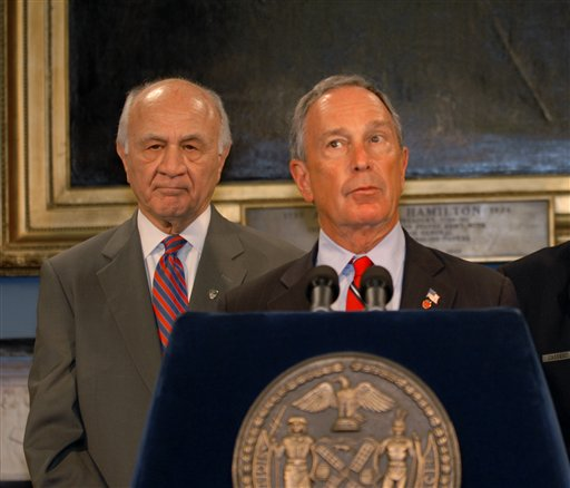 <div class='meta'><div class='origin-logo' data-origin='AP'></div><span class='caption-text' data-credit='AP Photo/Edouard H.R. Gluck'>New York Mayor, Michael Bloomberg, right, and New York City Fire Commissioner Nicholas Scoppetta, address the media during a news conference at City Hall.</span></div>