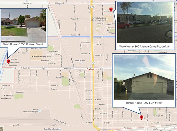 This map shows the location of the house in Calexico with the entry of a drug tunnel that led to Mexico, as well as a stash and warehouse location allegedly used by traffickers.