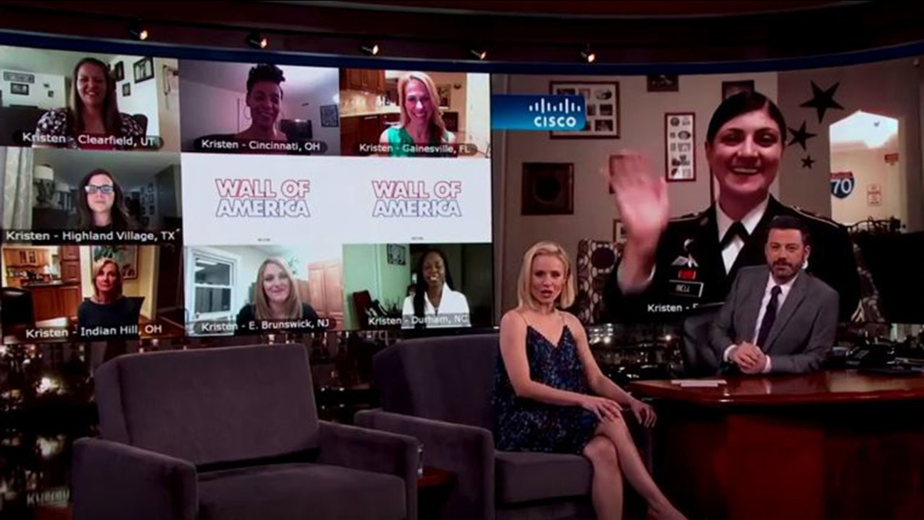Staff Sgt. Kristen Bell of Fayetteville talking with Actress Kristen Bell and Late-night Host Jimmy Kimmel.