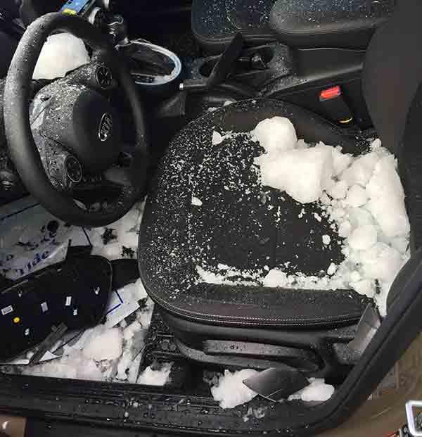 Photos Ice Chunk Falls From Sky Crashes Into Car At Pa Dealership