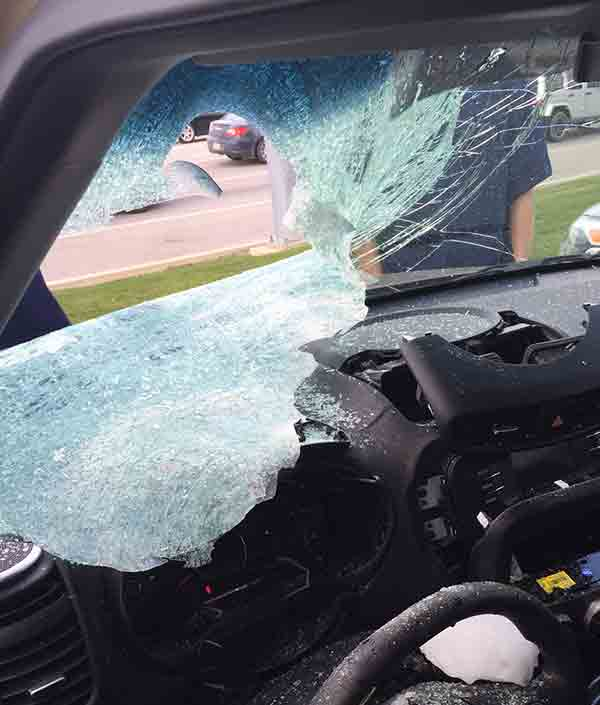 """<div class=""""meta image-caption""""><div class=""""origin-logo origin-image none""""><span>none</span></div><span class=""""caption-text"""">Officials say a large chunk of ice fell from the sky and crashed into the windshield of a Kia Soul parked at a car dealership in Mechanicsburg, Pennsylvania. (McCafferty Ford/Kia)</span></div>"""