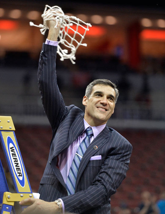 """<div class=""""meta image-caption""""><div class=""""origin-logo origin-image ap""""><span>AP</span></div><span class=""""caption-text"""">Villanova head coach Jay Wright hold a portion of the net after a regional final men's college basketball game against Kansas in the NCAA Tournament, Saturday, March 26, 2016. (AP Photo/Timothy D. Easley)</span></div>"""