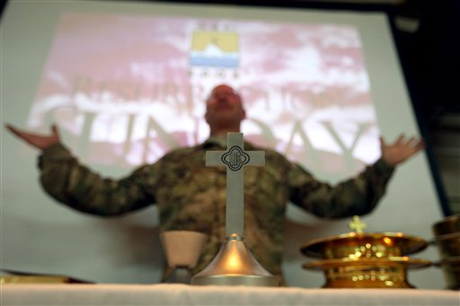 "<div class=""meta image-caption""><div class=""origin-logo origin-image none""><span>none</span></div><span class=""caption-text"">Military and civil service members of the NATO support mission hold an Easter service at their headquarters in Kabul, Afghanistan, Sunday, March 27, 2016. (AP Photo/Rahmat Gul) (AP)</span></div>"