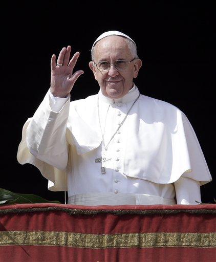 """<div class=""""meta image-caption""""><div class=""""origin-logo origin-image none""""><span>none</span></div><span class=""""caption-text"""">Pope Francis delivers the Urbi et Orbi (to the city and to the world) message at end of the Easter mass, in St. Peter's Square, at the Vatican. (AP Photo/Gregorio Borgia) (AP)</span></div>"""