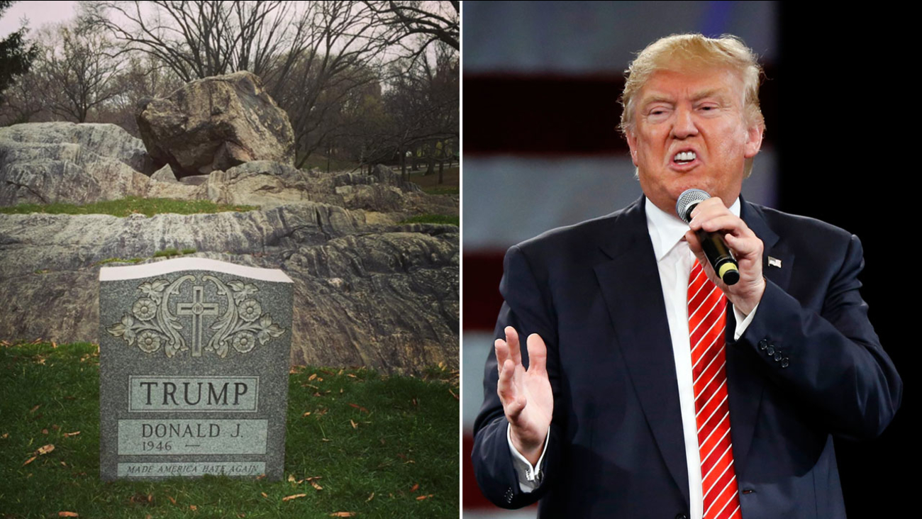 A photo of a tombstone at Central Park with Donald Trump's name on it  is shown alongside a file photo of the Republican presidential candidate.