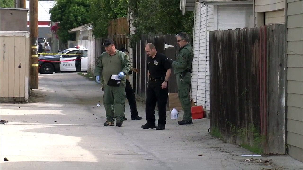 Detectives with the Anaheim Police Department and Orange County Sheriff's Department investigate a pipe bomb explosion on North Anaheim Boulevard on Sunday, March 27, 2016.