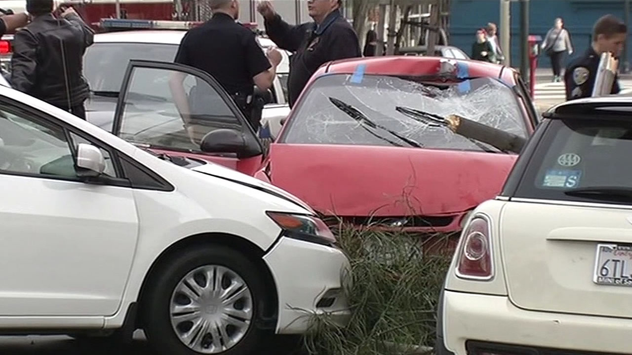Police responded to a crash involving at least four vehicles on 18th and Guerrero streets in San Francisco, Calif. on Sunday, March 27, 2016.