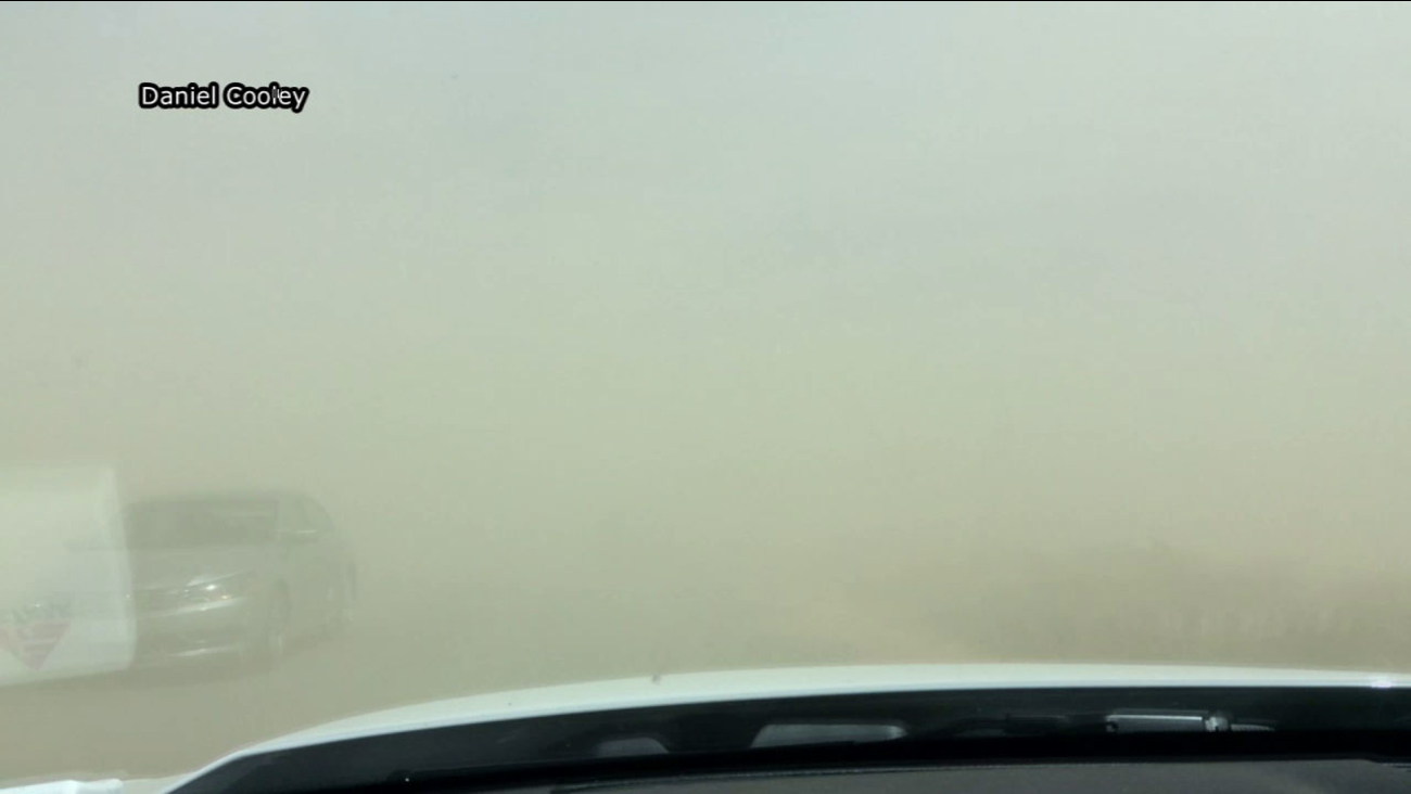 A dust storm in Lucerne Valley has triggered a 15-vehicle pileup on Highway 247.