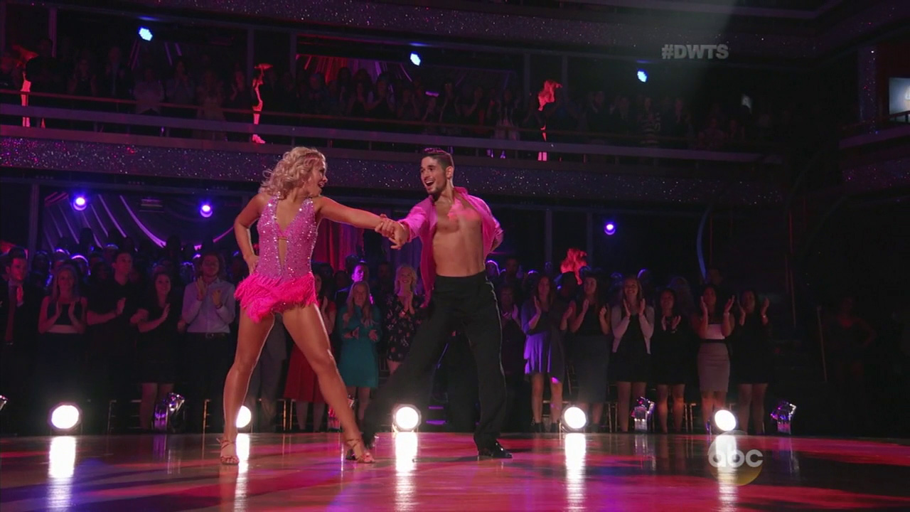 Paige VanZant and Mark Ballas heat up the ballroom floor during Latin Night on 'Dancing with the Stars' on Monday, March 28, 2016.