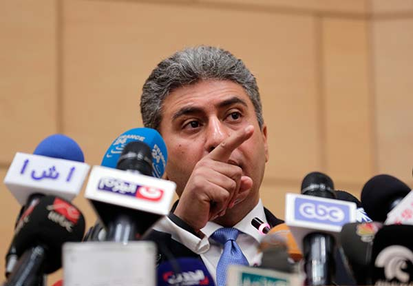 """<div class=""""meta image-caption""""><div class=""""origin-logo origin-image none""""><span>none</span></div><span class=""""caption-text"""">Egyptian Minister of Civil Aviation Sharif Fathy speaks during a press conference at the Ministry headquarters in Cairo, Egypt, Tuesday, March 29, 2016 (Amr Nabil/AP Photo)</span></div>"""