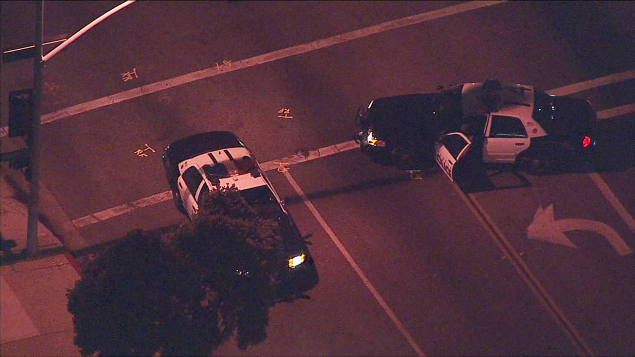 A chase comes to an end after a man steals a police cruiser in Pasadena, Calif. and leads police on a pursuit Monday, March 28, 2016.