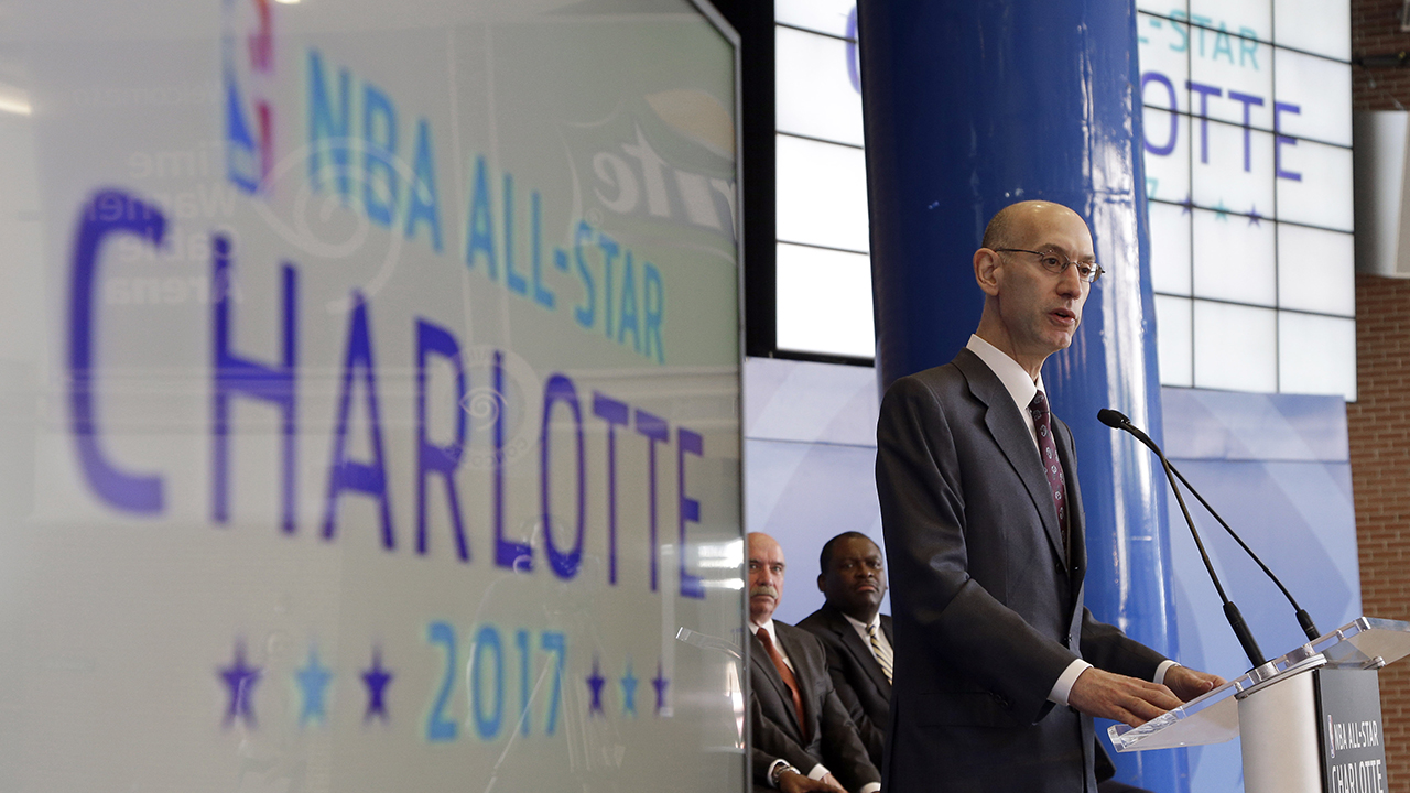 NBA Commissioner Adam Silver speaks during a news conference, Tuesday, June 23, 2015, to announce Charlotte as the site of the 2017 NBA All-Star basketball game.