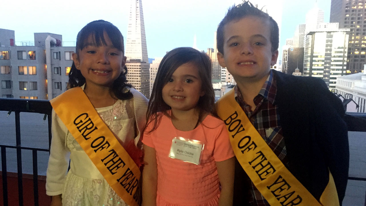 2016 LLS Girl of the Year and Boy of the Year: Edith Gonzalez of Oakland, and Preston Osycka of Walnut Creek (with Preston's sister Rylie in middle)