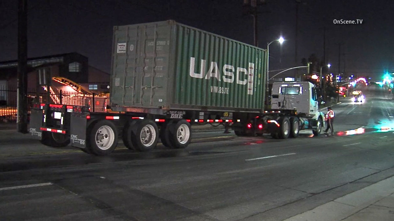 A big rig was involved in a crash on an off-ramp on the southbound 5 Freeway in Boyle Heights Thursday, March 31, 2016.