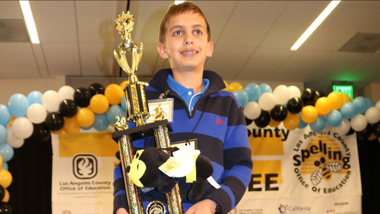 Sixth-grader Gabriel Gottheim is shown after winning the 2016 Los Angeles County Elementary Spelling Bee.