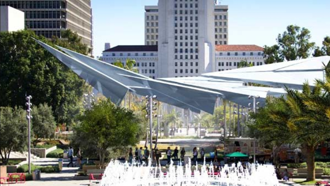 Paper Airplane Sculpture To Provide Shade At La S Grand Park