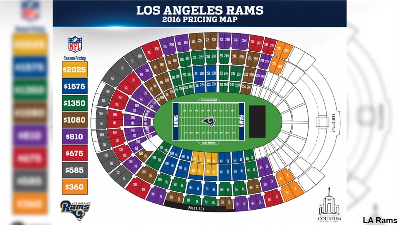 The pricing map for the Los Angeles Rams' 2016 season is shown in this image.
