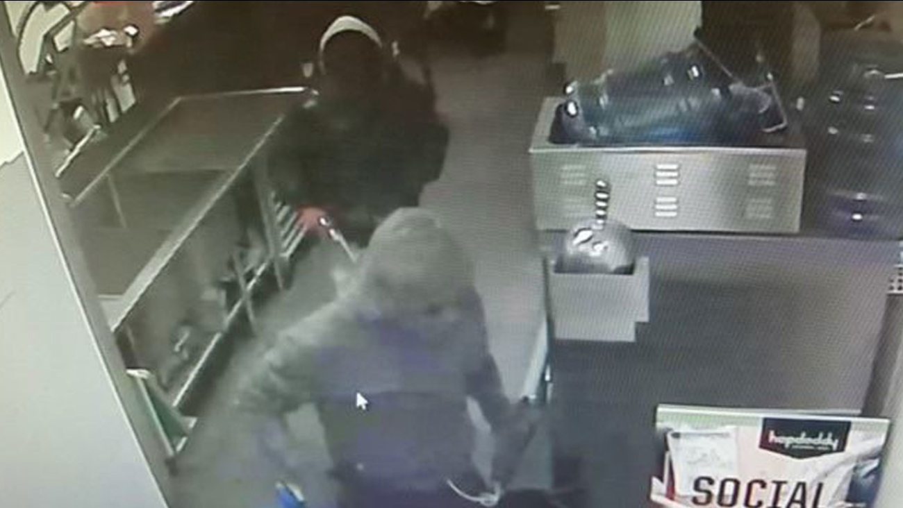 A robbery suspect who remains at large after evading arrest by El Segundo officers is shown in surveillance footage from Monday, April 4, 2016.