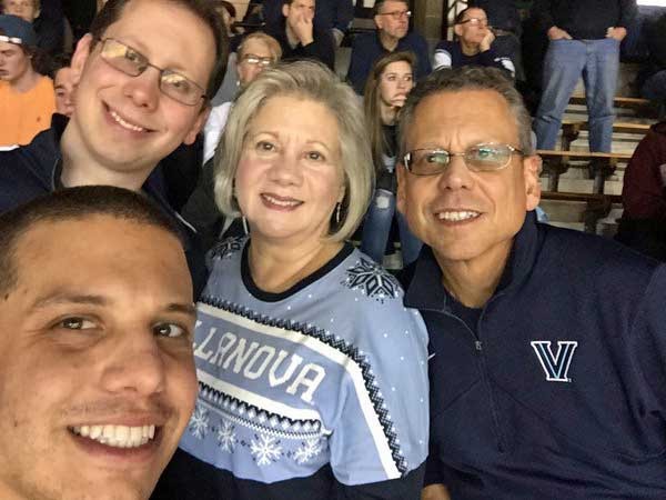 "<div class=""meta image-caption""><div class=""origin-logo origin-image wpvi""><span>WPVI</span></div><span class=""caption-text"">The Riviello 4!   Class of '70, '74, '05, '08.  Our team, our school, our pride!  Nova fans for life!  Go Cats! (Twitter/Christine Riviello)</span></div>"