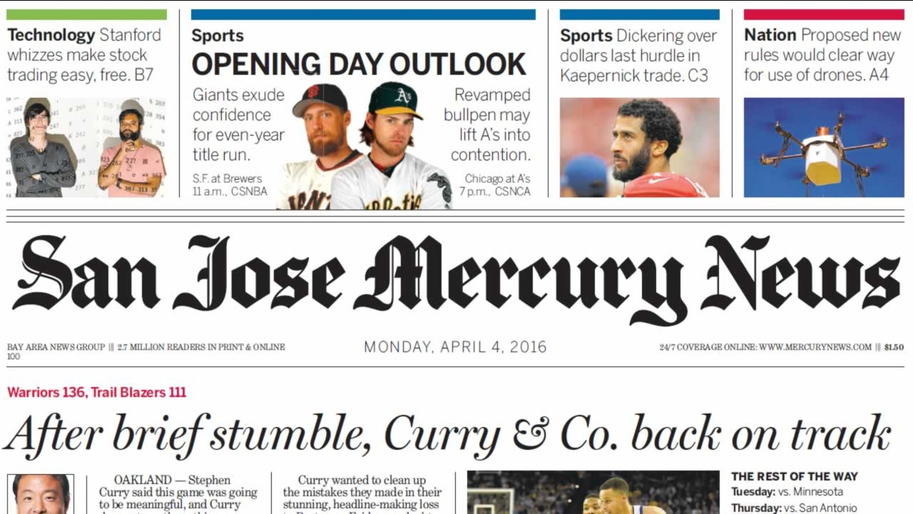 The front page of the last edition of the San Jose Mercury News is shown on Monday, April 4, 2016.