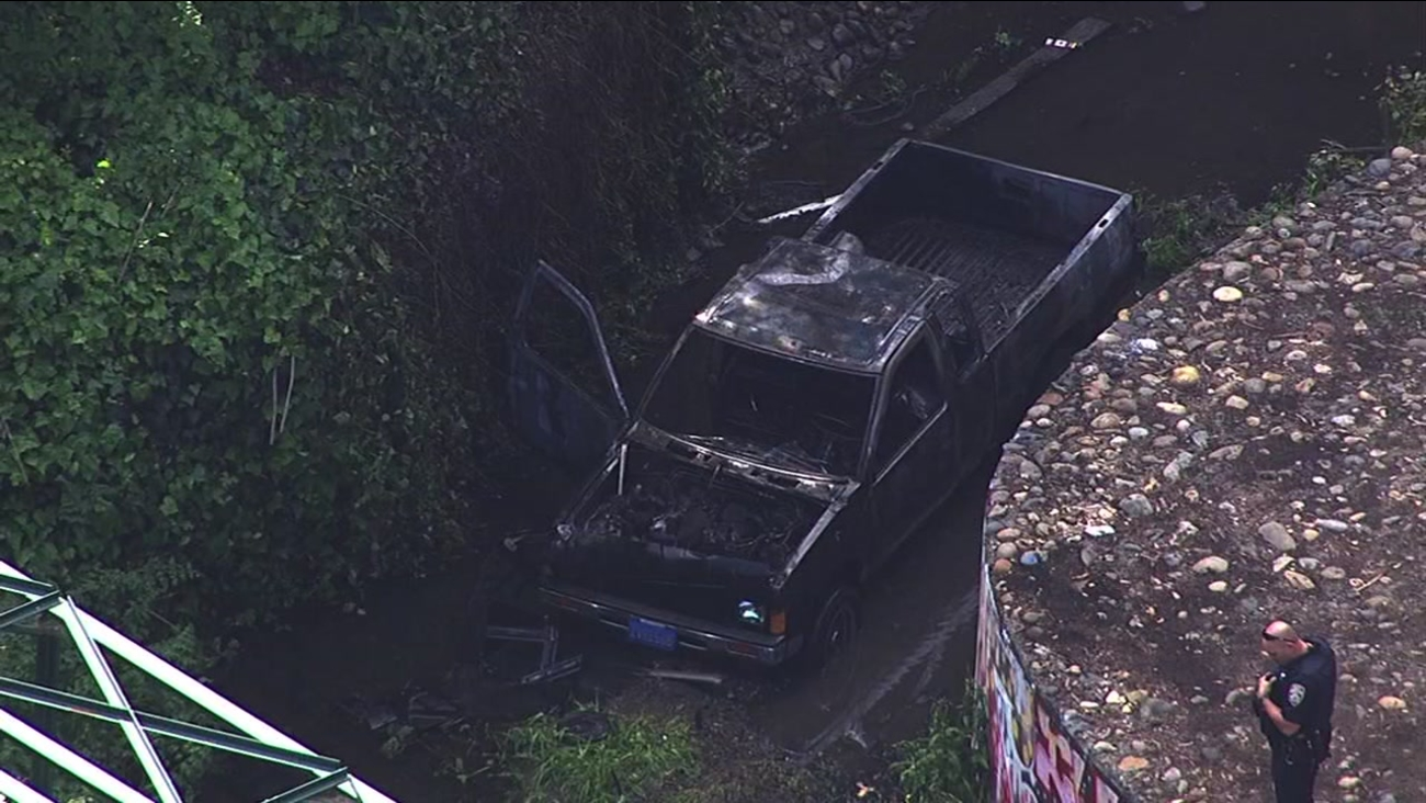 Police are investigating after a truck went into San Leandro Creek in San Leandro, Calif. on Monday, April 4, 2016.