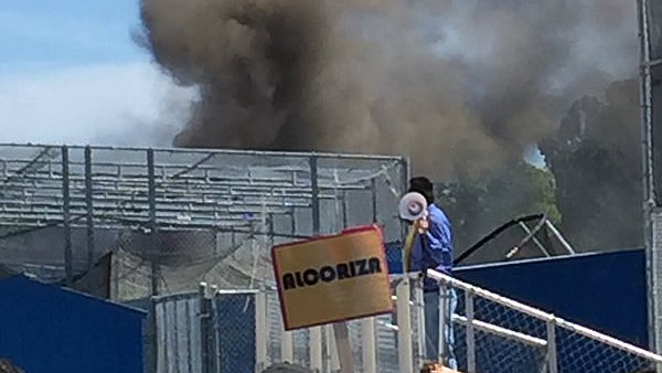 A fire that broke out at a snack shack at Santa Clara High School on Monday, April, 4, 2016 is seen in this image.