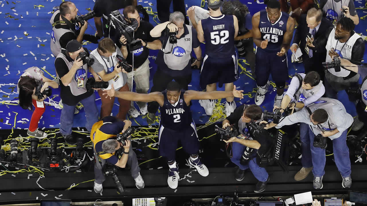 illanova's Kris Jenkins celebrates after the NCAA Final Four tournament college basketball championship game against North Carolina Monday, April 4, 2016, in Houston (AP Photo)