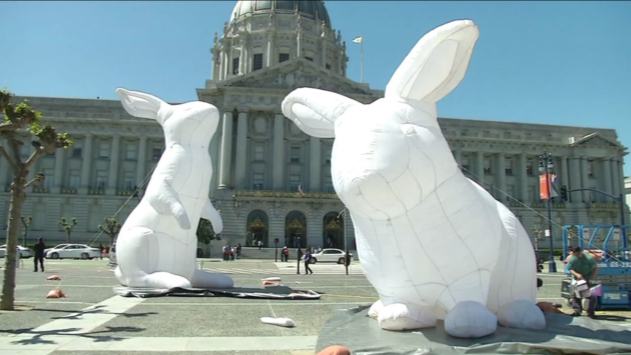 Workers installed 23-foot-tall rabbits at San Francisco's Civic Center Plaza on Monday, April 4, 2016.
