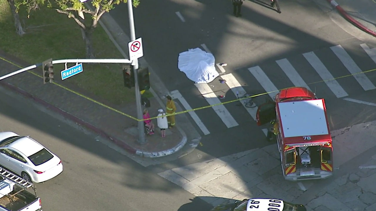 A male bicyclist was struck and killed by a large truck in the 12000 block of Ventura Place in Studio City Tuesday, April 5, 2016.