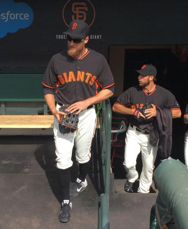 "<div class=""meta image-caption""><div class=""origin-logo origin-image none""><span>none</span></div><span class=""caption-text"">Hunter Pence stands in the dugout at AT&T Park at the season opener April 7, 2016 in San Francisco. (KGO-TV/ Matt Keller)</span></div>"