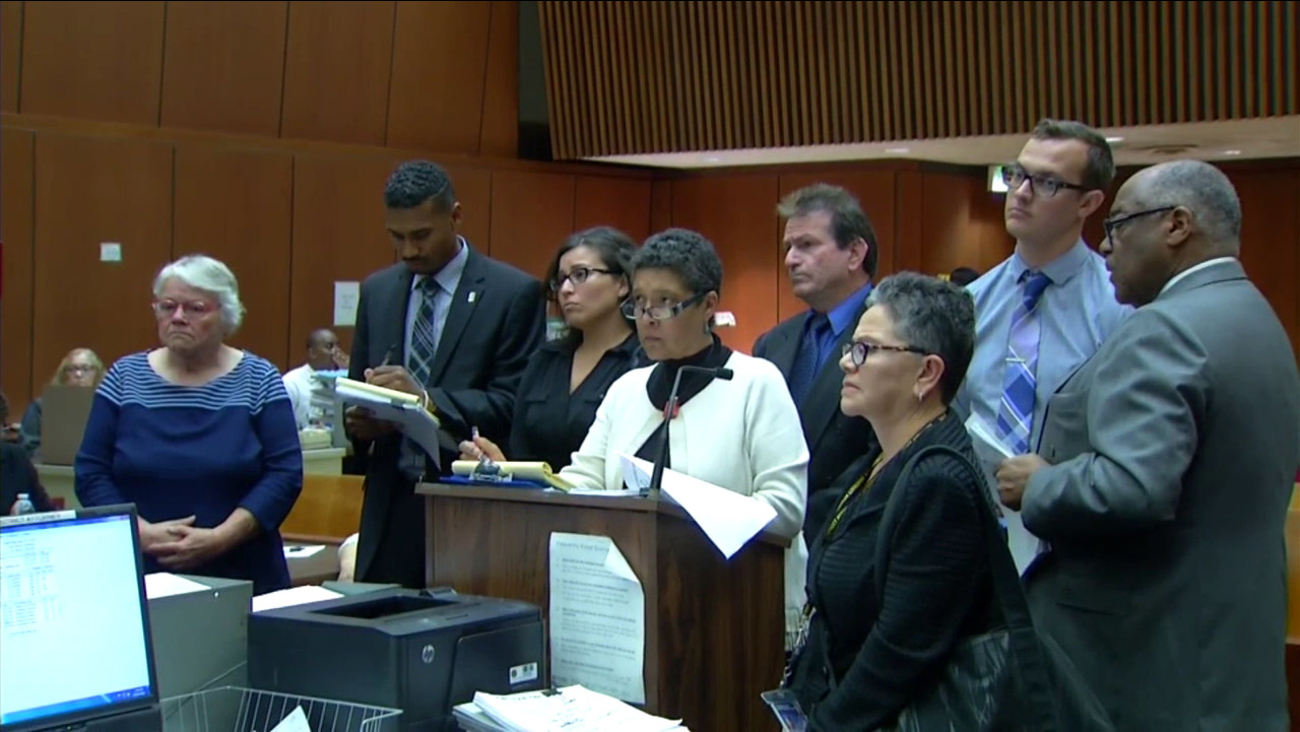 Four Los Angeles County social workers charged after a boy's beating death appear in court on Thursday, April 7, 2016.