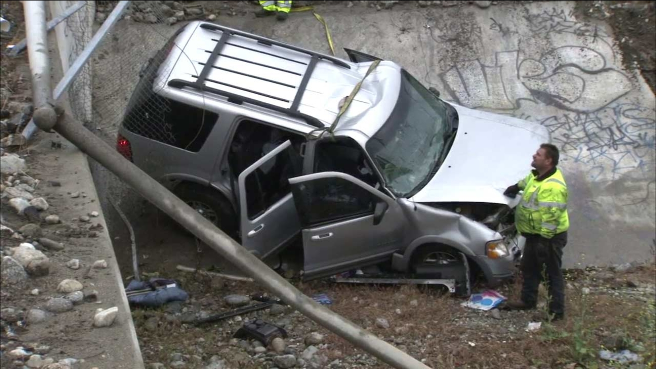 Multiple victims were hospitalized after a vehicle went over an embankment on the southbound 605 Freeway in Irwindale, Los Angeles County fire officials said Saturday, April 9, 201