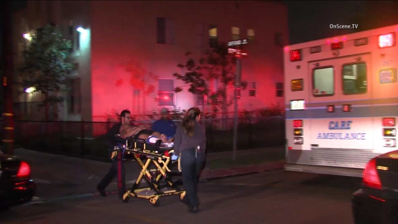 Three people were shot at two locations in Maywood, sheriff's deputies said.