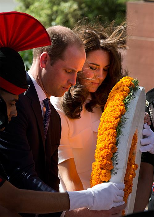 <div class='meta'><div class='origin-logo' data-origin='AP'></div><span class='caption-text' data-credit='Manish Swarup/Pool Photo via AP'>Prince William and wife Kate, the Duchess of Cambridge, paying their tributes at the India Gate war memorial on April 11, 2016.</span></div>