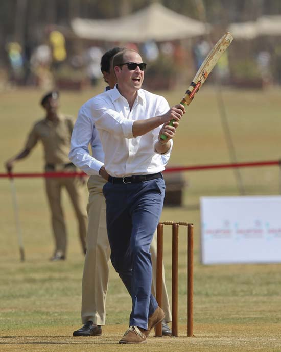 "<div class=""meta image-caption""><div class=""origin-logo origin-image ap""><span>AP</span></div><span class=""caption-text"">The Duke of Cambridge, Prince William, plays cricket during a charity event at the Oval Maidan in Mumbai, India, Sunday, April 10, 2016. (Rafiq Maqbool /Pool via AP)</span></div>"