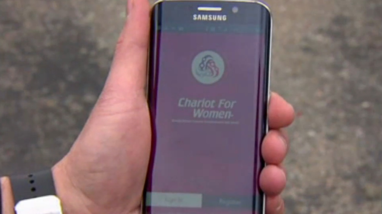 "This undated image shows an app for the car service company ""Chariot for Women."""