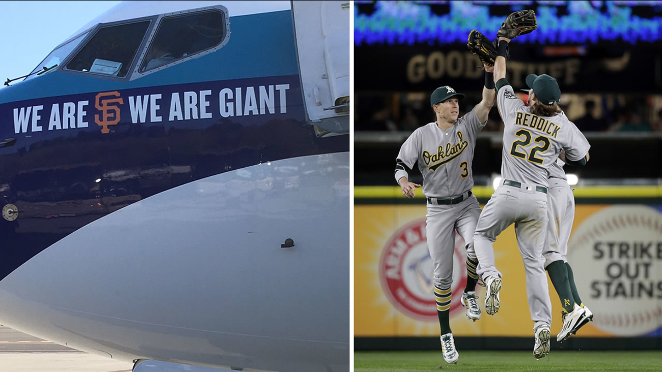 On the left is a plane with an SF Giants logo that the Oakland Athletics had to fly home on. On the right are A's outfielders congratulating each other after the beat the Mariners.
