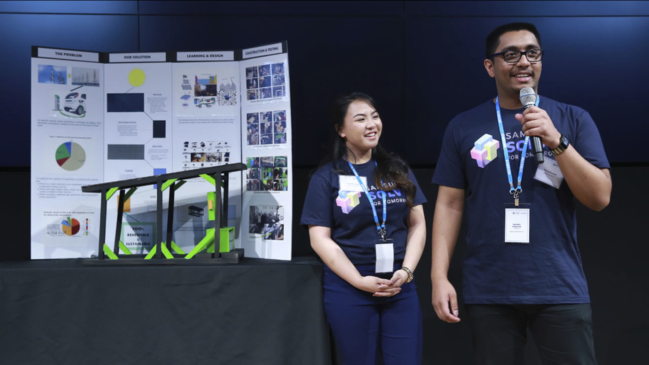 James Logan High School students presented their project at the Pitch Event at Samsung in New York City on March 15, 2016.
